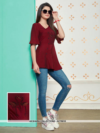 AC76010 - Maroon Color Muslin Cotton Top