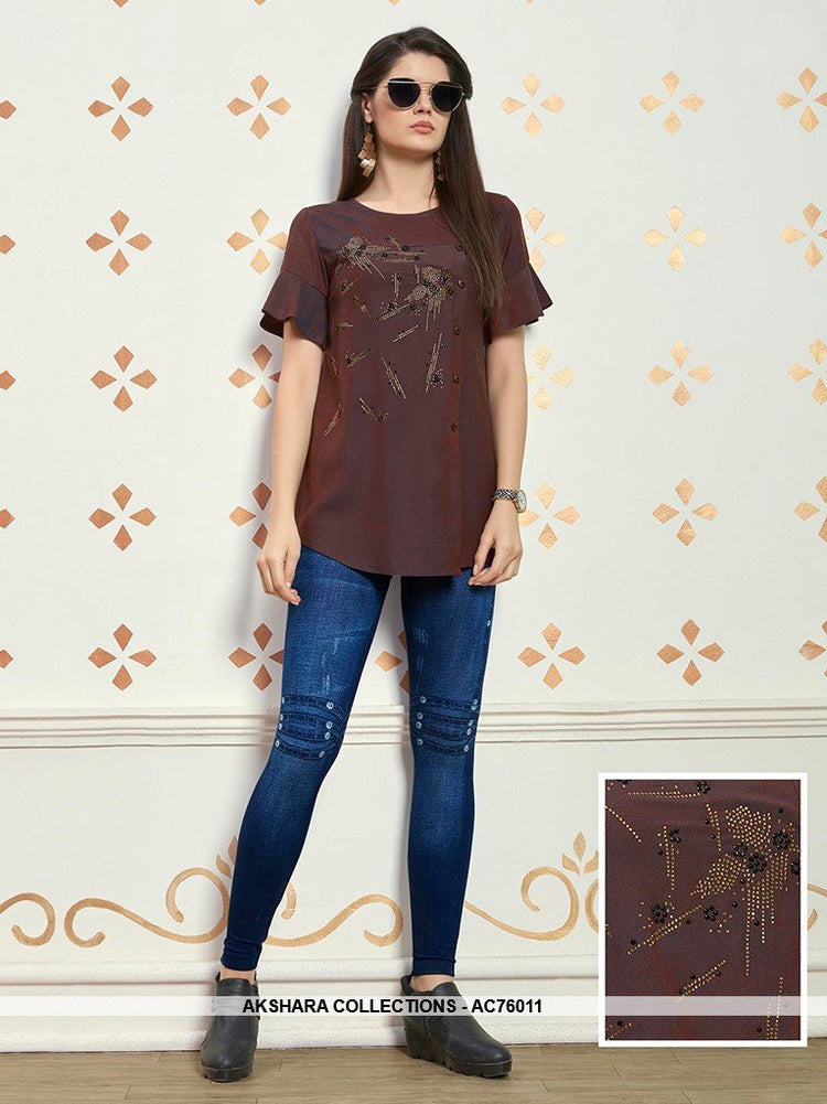 AC76011 - Brown Color Muslin Cotton Top