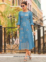 AC76113 - Blue Color Cotton Kurti