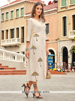 AC76114 - Off White Color Cotton Kurti