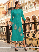 AC76115 - Turquoise Color Cotton Kurti