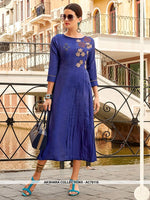 AC76116 - Royal Blue Color Cotton Kurti