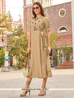 AC76117 - Beige Color Cotton Kurti