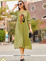 AC76123 - Olive Green Color Georgette Kurti