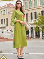 AC76124 - Green Color Georgette Kurti