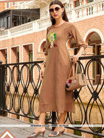 AC76125 - Beige Color Georgette Kurti