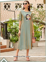 AC76127 - Grey Color Georgette Kurti