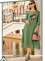AC76128 - Green Color Georgette Kurti
