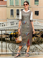 AC76140 - Grey Color Poly Linen Readymade Kurti