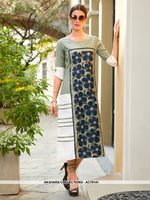 AC76141 - Light Green and Off White Color Poly Linen Readymade Kurti
