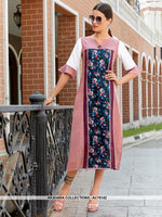 AC76142 - Pink and Navy Blue Color Poly Linen Readymade Kurti