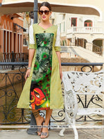 AC76144 - Green Color Poly Linen Readymade Kurti