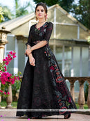 AC76149 - Black Color Orgenza Semi Stitched Gowns