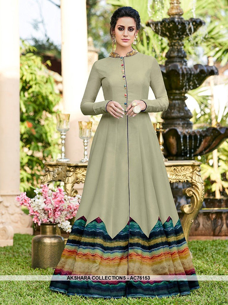 AC76153 - Pastel Green Color Silk Blend Semi Stitched Gowns
