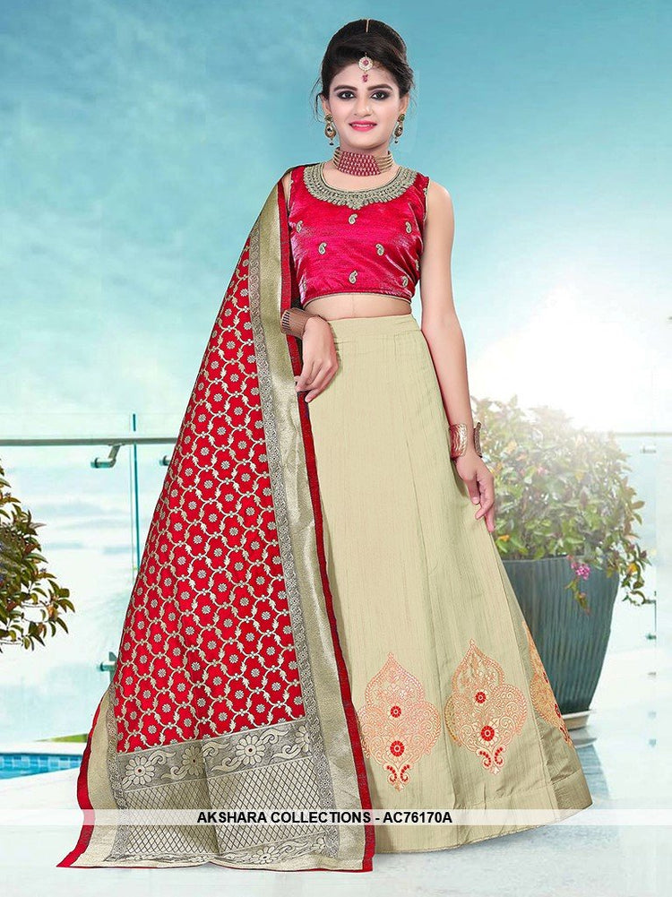 AC76170A - Beige Color Banarasi Silk Readymade Lehenga Choli