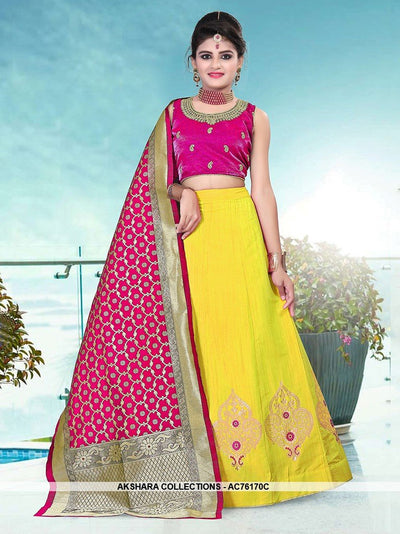 AC76170C - Yellow Color Banarasi Silk Readymade Lehenga Choli