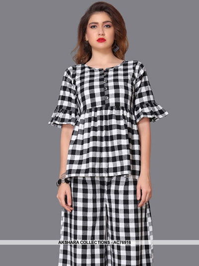 AC76916 - Black and Off White Color Khadi Readymade Western Wear