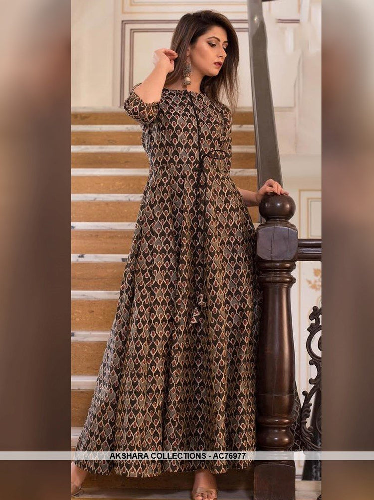 AC76977 - Grey and Brown Color Pure Maslin Readymade Gown