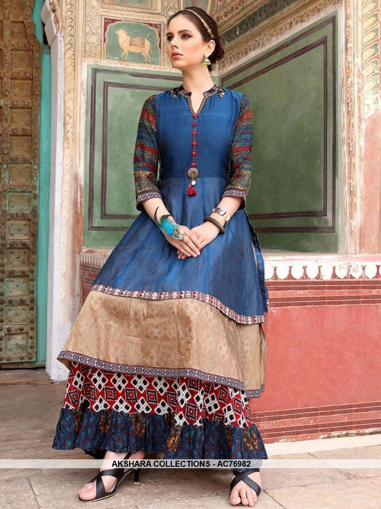 AC76982 - Blue Color Heavy Rayon and Chanderi Cotton Readymade Kurti