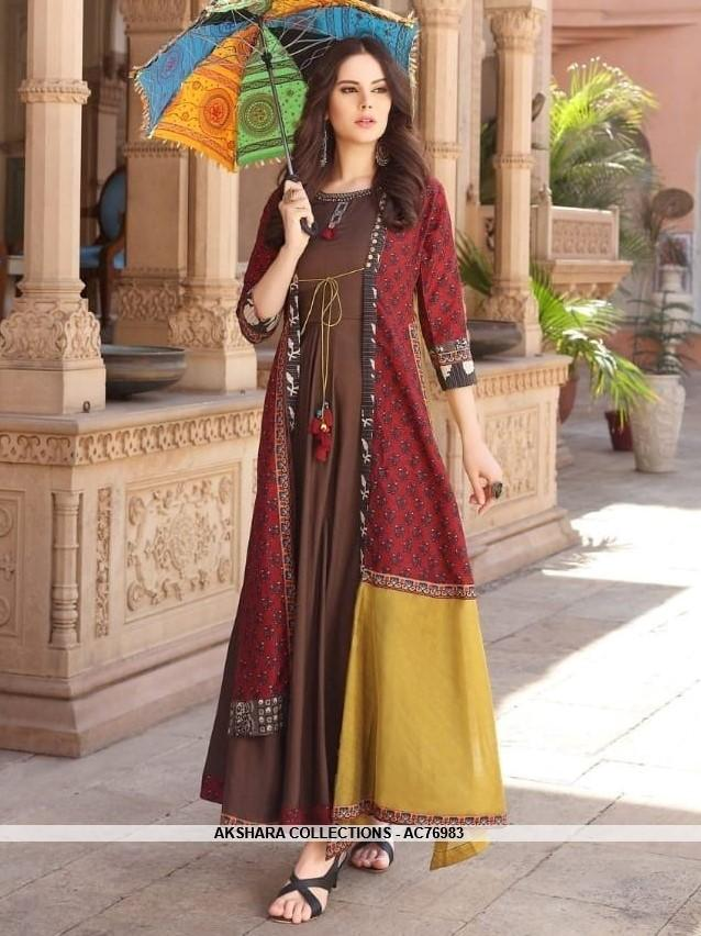 AC76983 - Coffee and Red Color Heavy Rayon and Chanderi Cotton Readymade Kurti