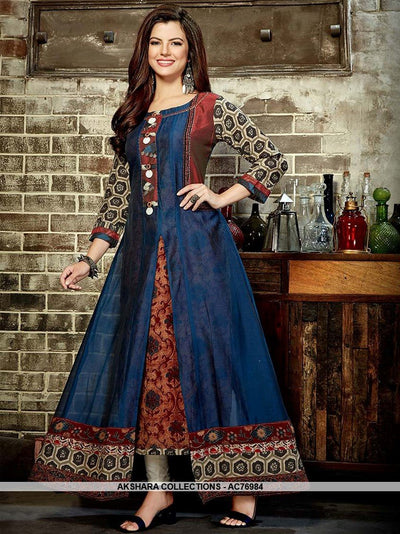 AC76984 - Dark Blue Color Heavy Rayon and Chanderi Cotton Readymade Kurti