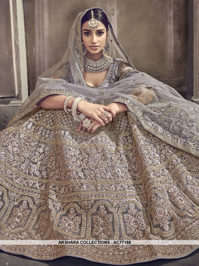 AC77168 - Grey Color Net Lehenga Choli