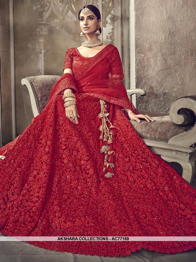 AC77169 - Red Color Net Lehenga Choli