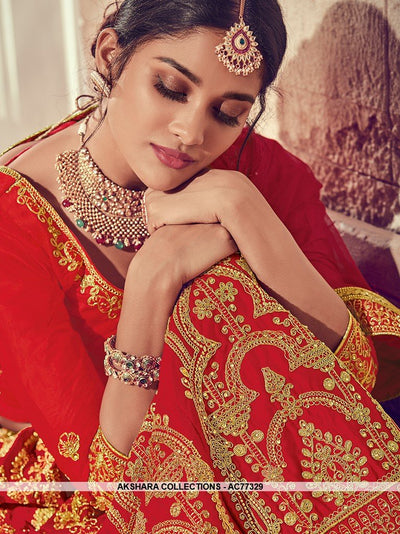 AC77329 - Red Color Art Silk Lehenga Choli