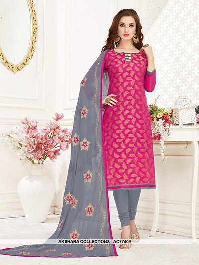 AC77409 - Dark Pink Color Jacquard Silk Churidar Suit