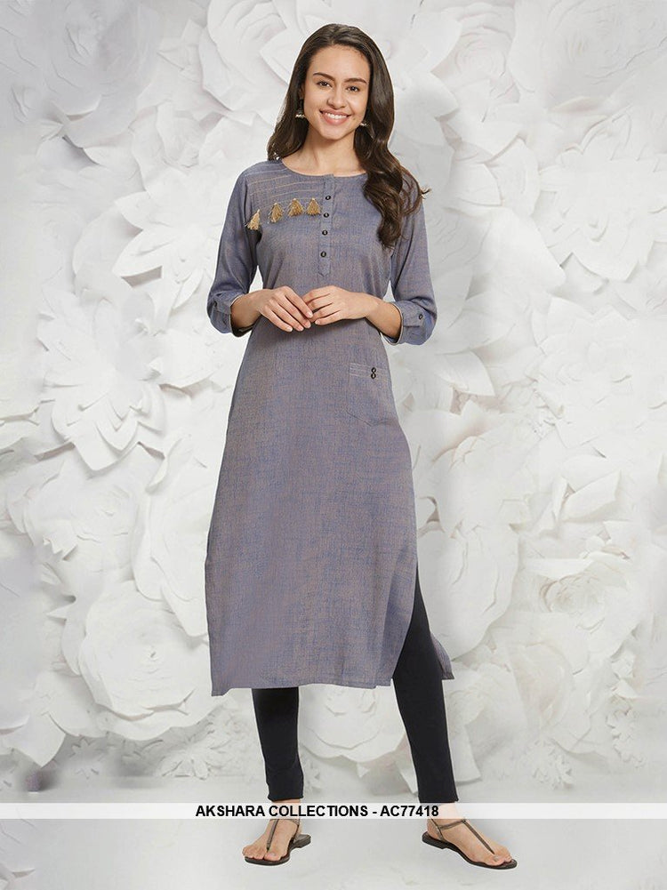 AC77418 - Grey Color Rayon Slub Readymade Kurti