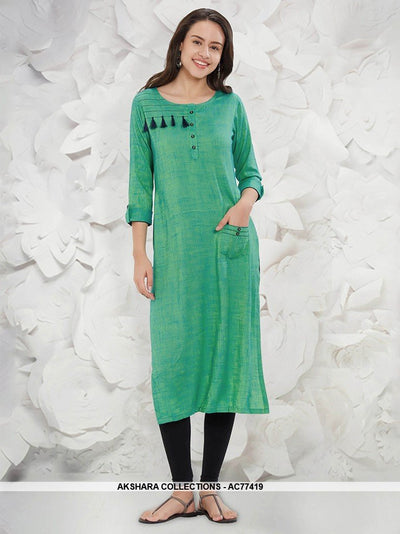 AC77419 - Sea Green Color Rayon Slub Readymade Kurti