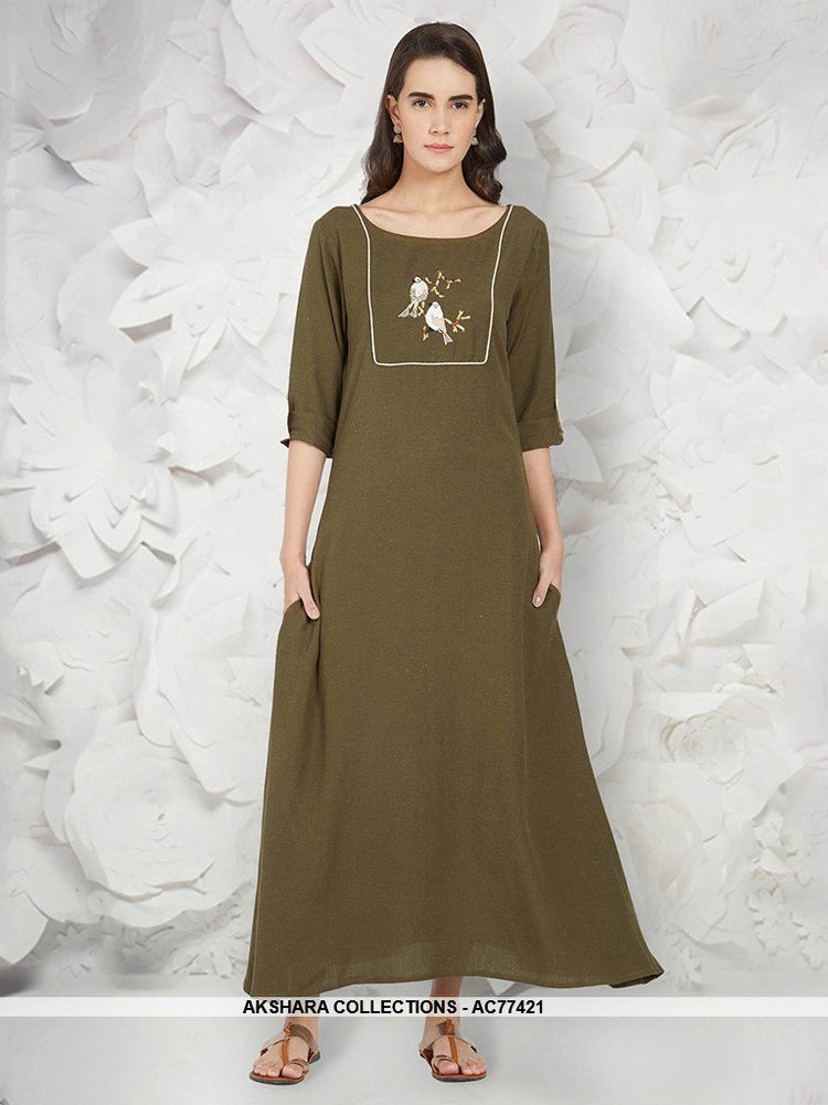 AC77421 - Olive Green Color Linen Readymade Kurti