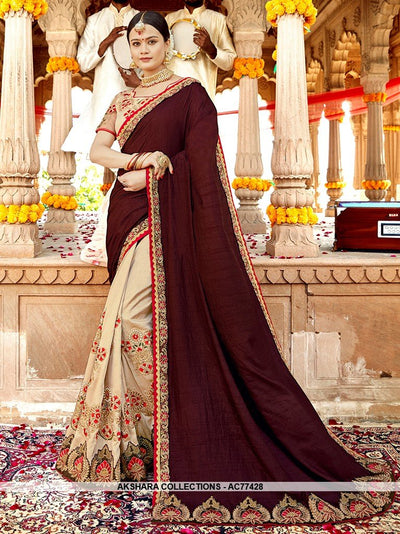 AC77428 - Brown and Cream Color Soft Silk Half n Half Saree