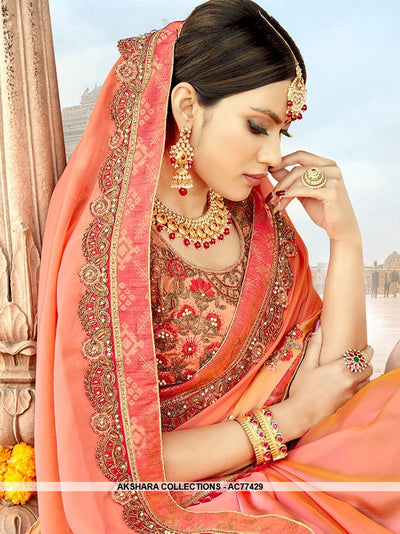 AC77429 - Peach and Orange Color Satin Silk Saree
