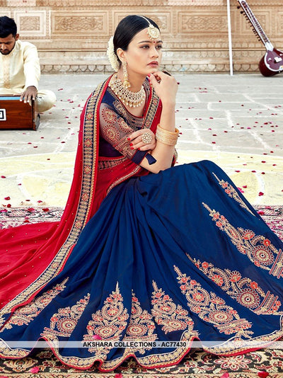 AC77430 - Red and Blue Color Soft Silk Half n Half Saree