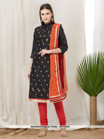 AC77433C - Black Color Cotton Churidar Suit
