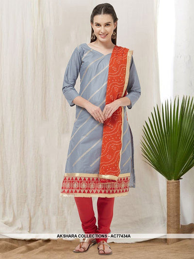 AC77434A - Grey Color Cotton Churidar Suit