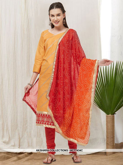 AC77434C - Musturd Yellow Color Cotton Churidar Suit