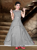 AC77496B - Grey Color Tafeta Silk Kids Readymade Gown