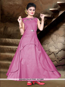 AC77496E - Pink Color Tafeta Silk Kids Readymade Gown