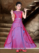AC77496F - Purple Color Tafeta Silk Kids Readymade Gown