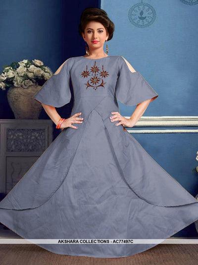 AC77497B - Slate Blue Color Tafeta Silk Kids Readymade Gown