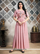AC77753 - Baby Pink Color Khadi Slub Readymade Gown