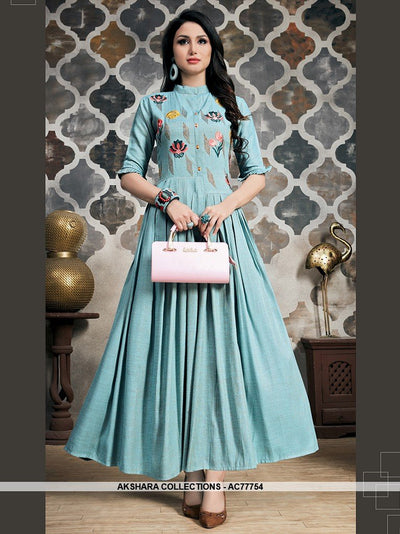AC77754 - Light Blue Color Khadi Slub Readymade Gown