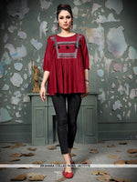 AC77772 - Maroon Color Rayon Cotton Readymade Top