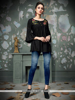AC77773 - Black Color Rayon Cotton Readymade Top