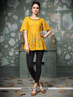 AC77774 - Yellow Color Rayon Cotton Readymade Top