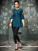 AC77776 - Blue Color Rayon Cotton Readymade Top