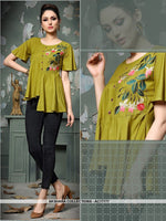 AC77777 - Pear Green Color Rayon Cotton Readymade Top