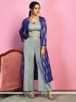 AC77890 - Grey and Purple Color Cotton Satin and Handloom Cotton Readymade Western Wear